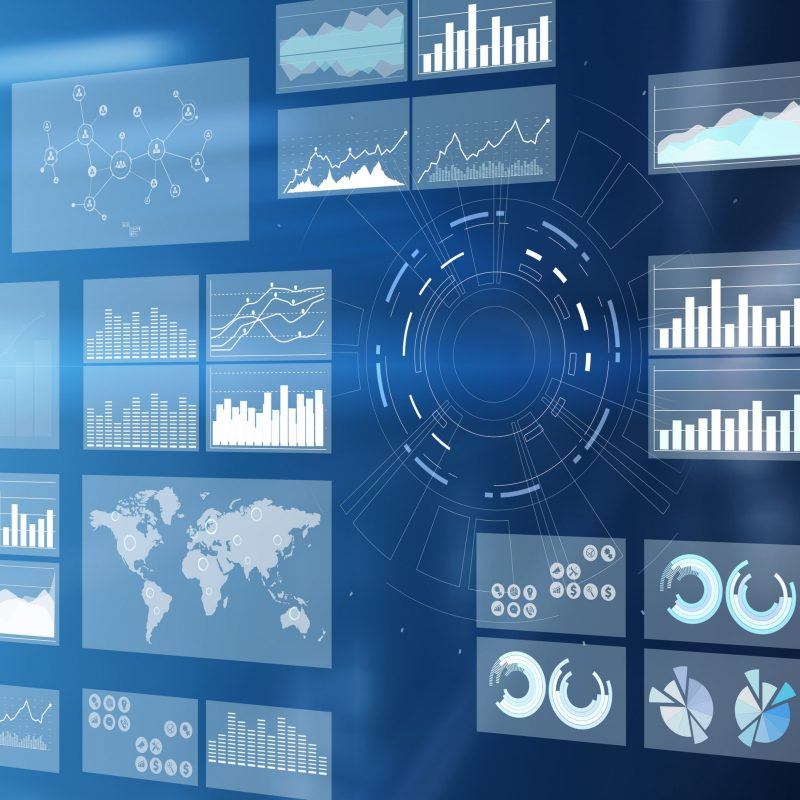 Virtual screen business intelligence dashboard, analytics and big data technology concept